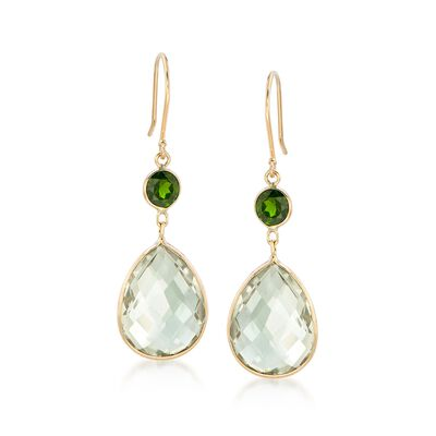 13.00 ct. t.w. Bezel-Set Green Prasiolite and 1.60 ct. t.w. Peridot Drop Earrings in 14kt Yellow Gold , , default