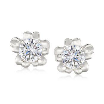 14kt White Gold Flower Petal Earring Jackets