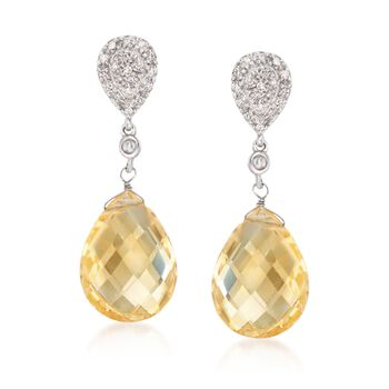 12.00 ct. t.w. Citrine and .20 ct. t.w. Diamond Drop Earrings in Sterling Silver, , default