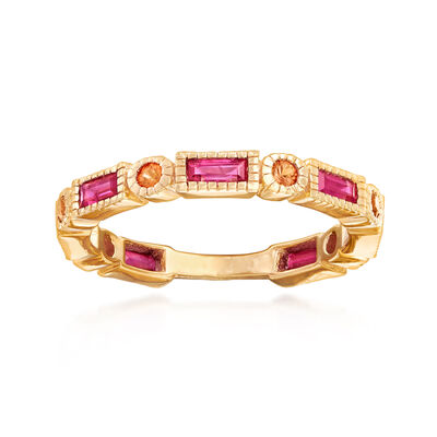 .90 ct. t.w. Ruby and .20 ct. t.w. Orange Sapphire Ring in 14kt Yellow Gold Over Sterling Silver, , default