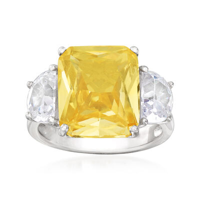 7.65 ct. t.w. Yellow and White CZ Ring in Sterling Silver, , default
