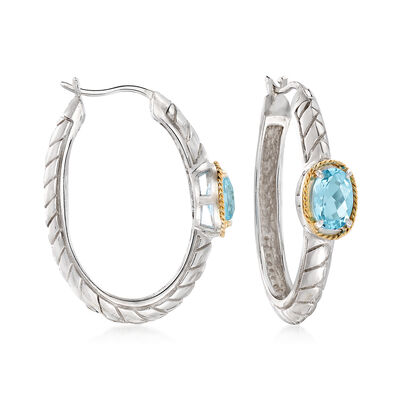 2.00 ct. t.w. Blue Topaz Hoop Earrings in Sterling Silver and 14kt Yellow Gold , , default