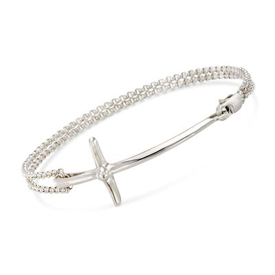 "Zina Sterling Silver ""Contemporary"" Sideways Cross Bracelet, , default"