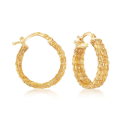 Italian 14kt Yellow Gold Mesh Hoop Earrings, , default