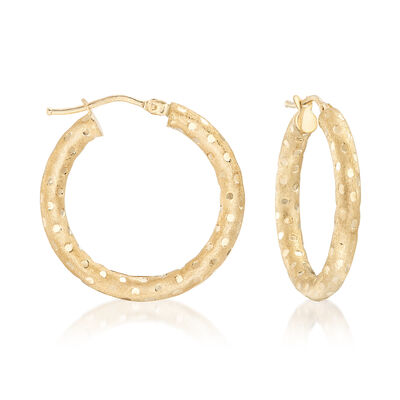 Italian 14kt Yellow Gold Dotted Hoop Earrings, , default