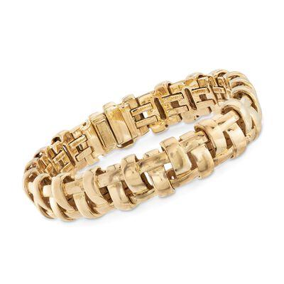 "C. 2002 Vintage Tiffany Jewelry 18kt Yellow Gold ""Vannerie"" Basketweave Bracelet, , default"