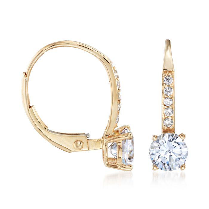 1.10 ct. t.w. CZ Drop Hoop Earrings in 14kt Yellow Gold