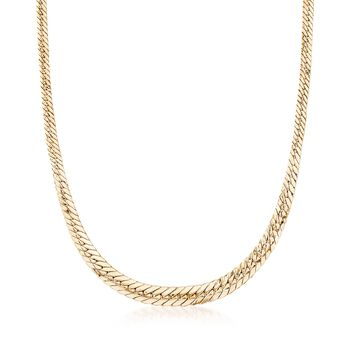 18kt Gold Over Sterling Silver Small Graduated Flat Cuban-Link Necklace, , default