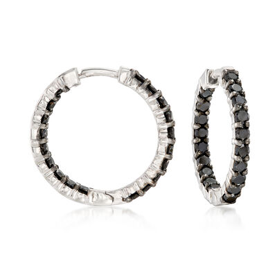 2.00 ct. t.w. Black Diamond Inside-Outside Hoop Earrings in Sterling Silver, , default