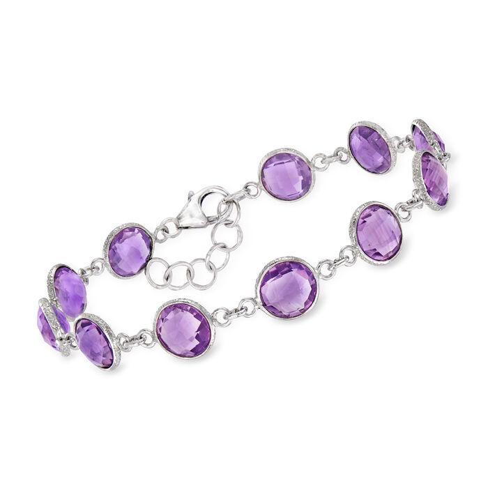 """18.00 ct. t.w. Amethyst Bracelet in Sterling Silver. 8.5"""", , default"""