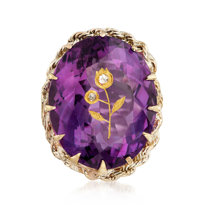 C. 1940 Vintage 31.00 Carat Amethyst Floral Ring with Diamond Accents in 14kt Yellow Gold. Size 6.5, , default