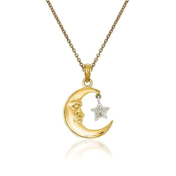 """14kt Two-Tone Gold Moon and Star Pendant Necklace. 18"""", , default"""