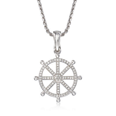 .25 ct. t.w. Diamond Ship Wheel Pendant Necklace in Sterling Silver, , default
