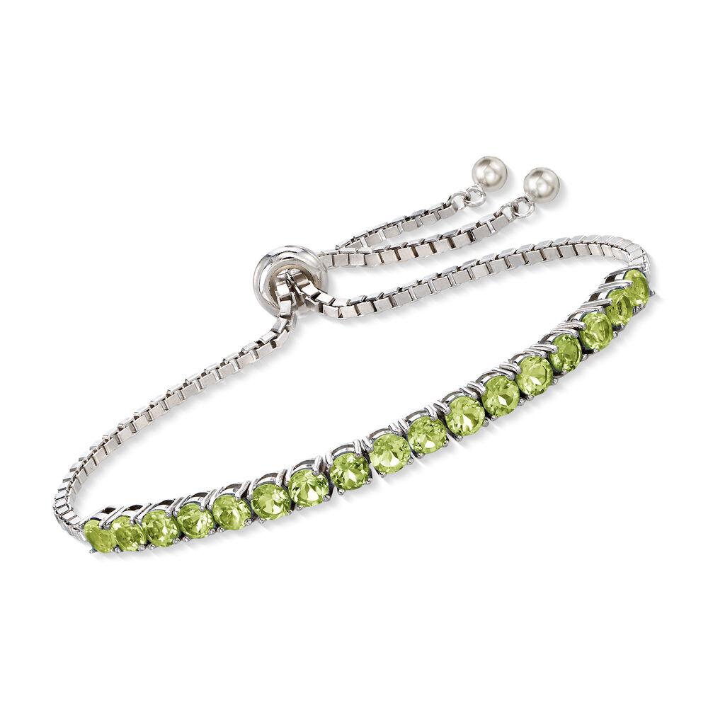 68547220e9017 5.00 ct. t.w. Peridot Bolo Bracelet in Sterling Silver