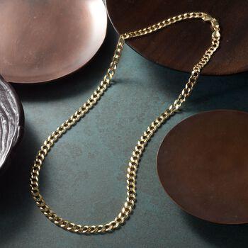"Men's 5.7mm 14kt Yellow Gold Comfort Curb Chain Necklace. 20"", , default"