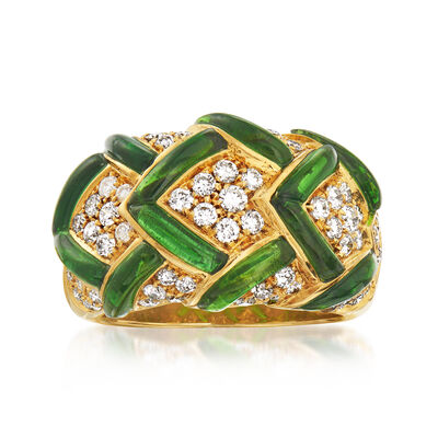 C. 1980 Vintage 1.80 ct. t.w. Green Tourmaline and .96 ct. t.w. Diamond Dome Ring in 18kt Yellow Gold