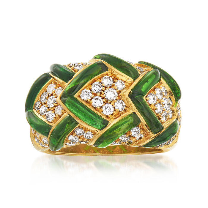 C. 1980 Vintage 1.80 ct. t.w. Green Tourmaline and .96 ct. t.w. Diamond Dome Ring in 18kt Yellow Gold. Size 6.5