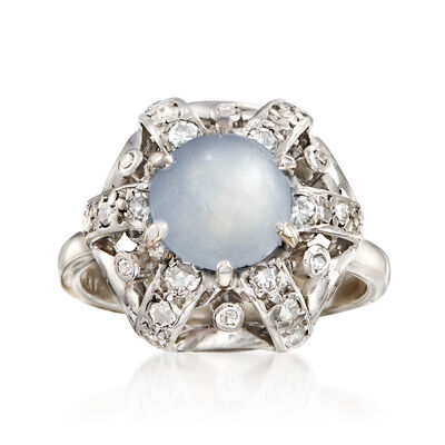 C. 1960 Vintage 4.00 Carat Star Sapphire and .35 ct. t.w. Diamond Ring in Platinum, , default