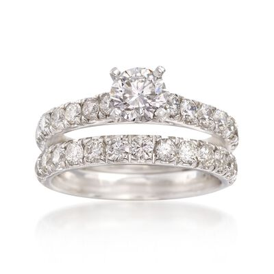 2.00 ct. t.w. Diamond Bridal Set: Engagement and Weddings Rings in 14kt White Gold