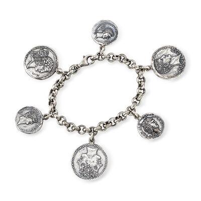 Italian Sterling Silver Coin Bracelet, , default