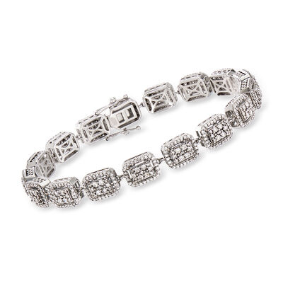 3.00 ct. t.w. Diamond Cluster Bracelet in 14kt White Gold, , default