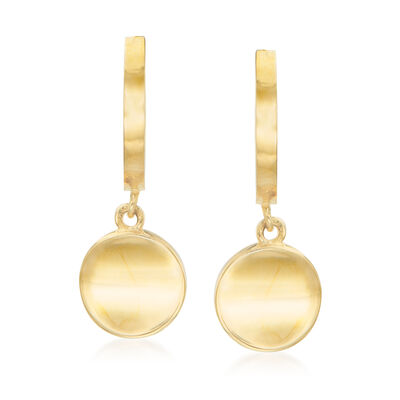 14kt Yellow Gold Round Disc Drop Earrings