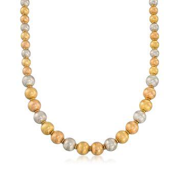 "C. 1990 Vintage 6-8mm 18kt Tri-Colored Gold Textured Bead Necklace. 18"", , default"