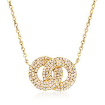 ".70 ct. t.w. Pave CZ Eternity Circles Necklace in 14kt Gold Over Sterling. 16"", , default"
