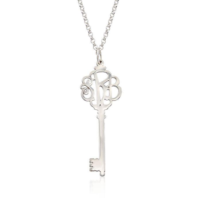 Sterling Silver Script Monogram Key Pendant Necklace, , default
