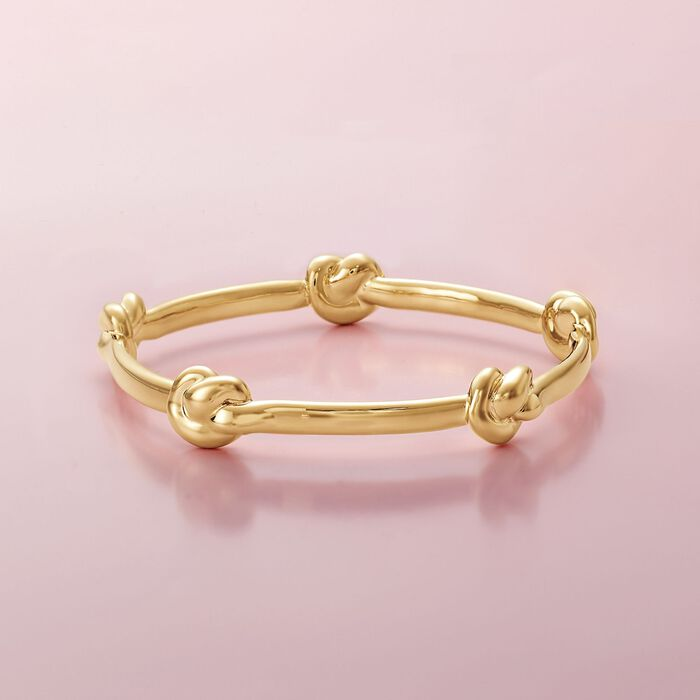 Italian Andiamo 14kt Yellow Gold Knot Station Bangle Bracelet