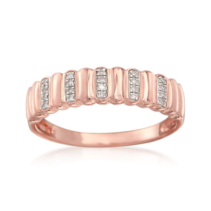 18kt Rose Gold Over Sterling Silver Ribbed Ring with Diamond Accents, , default