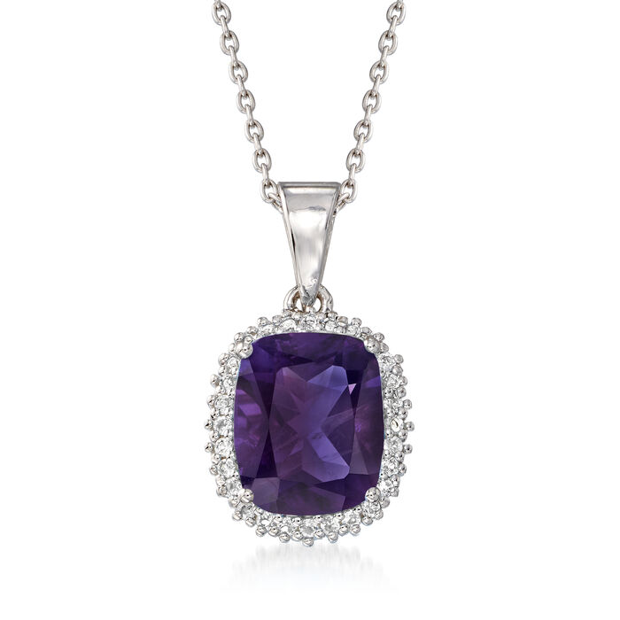 """3.60 Carat Amethyst and .20 ct. t.w. White Topaz Pendant Necklace in Sterling Silver. 18"""", , default"""