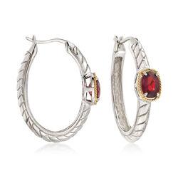 2.00 ct. t.w. Garnet Hoop Earrings in Sterling Silver, , default