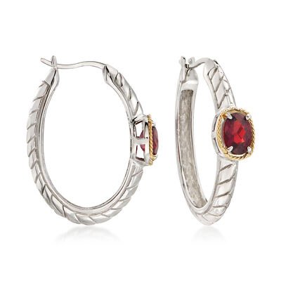 2.00 ct. t.w. Garnet Hoop Earrings in Sterling Silver, , default