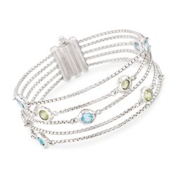 """Zina Sterling Silver """"Sahara"""" 3.75 ct. t.w. Blue Topaz and 2.25 ct. t.w. Green Peridot 5-Strand Bracelet in Sterling Silver. 7.25"""", , default"""