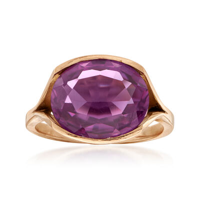 C. 1970 Vintage 7.50 Carat Simulated Purple Sapphire Ring in 14kt Yellow Gold, , default