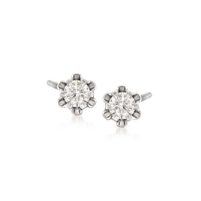 Child's .14 ct. t.w. Diamond Stud Earrings in 14kt White Gold, , default