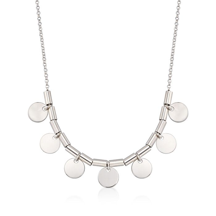 """Italian Sterling Silver Bead and Disc Drop Necklace. 20"""", , default"""