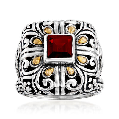 1.10 Carat Garnet Scrollwork Ring in Sterling Silver with 14kt Yellow Gold, , default