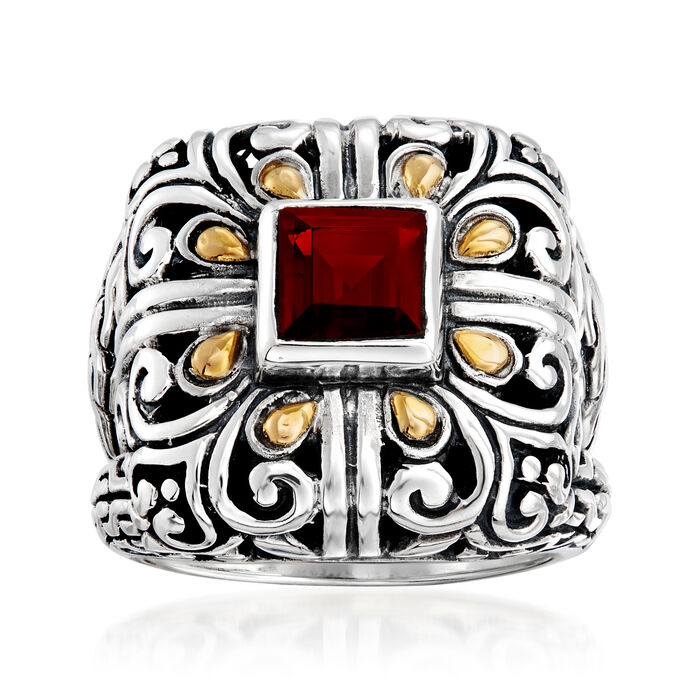 1.10 Carat Garnet Scrollwork Ring in Sterling Silver with 14kt Yellow Gold