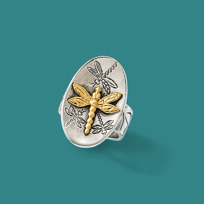 Sterling Silver and 14kt Yellow Gold Dragonfly Ring