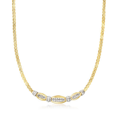C. 1990 Vintage 1.50 ct. t.w. Diamond Necklace in 14kt Two-Tone Gold