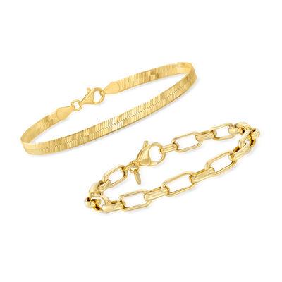 18kt Gold Over Sterling Jewelry Set: Herringbone and Paper Clip Link Bracelets