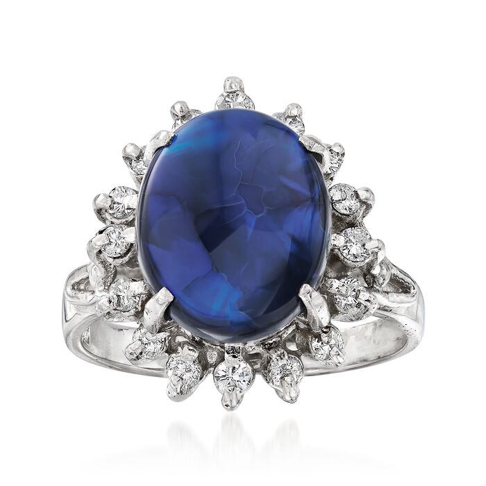 C. 1970 Vintage 11.5x9mm Black Opal and .28 ct. t.w. Diamond Ring in Platinum. Size 5.25, , default