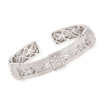 .25 ct. t.w. Diamond Vintage-Style Cuff Bracelet in Sterling Silver, , default