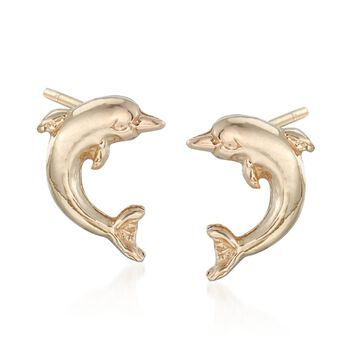 14kt Yellow Gold Dolphin Stud Earrings, , default