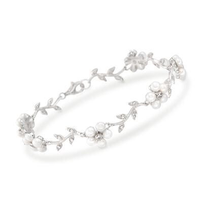 3-3.5mm Cultured Pearl and .60 ct. t.w. CZ Floral Bracelet in Sterling Silver, , default