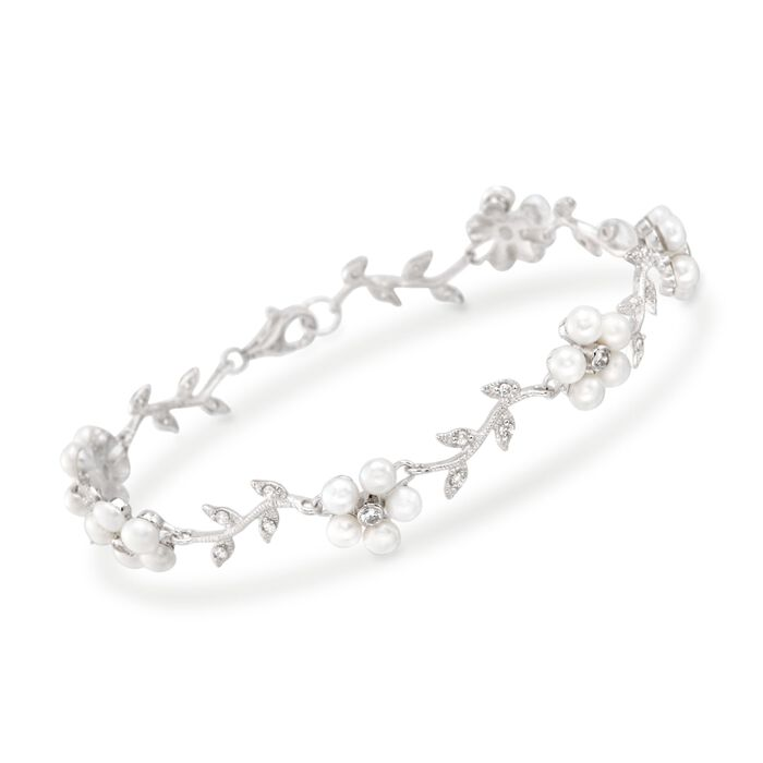 "3-3.5mm Cultured Pearl and .60 ct. t.w. CZ Floral Bracelet in Sterling Silver. 7"", , default"