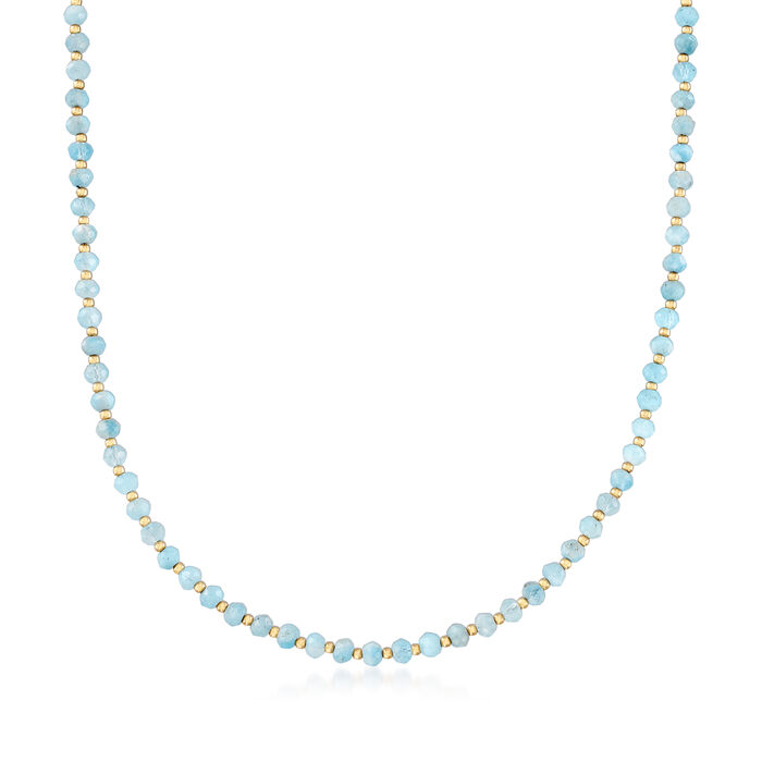 18.00 ct. t.w. Aquamarine Bead Necklace in 14kt Yellow Gold with Magnetic Clasp