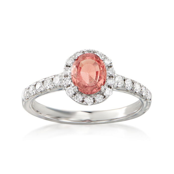 1.00 Carat Pink Sapphire and .45 ct. t.w. Diamond Halo Ring in 14kt White Gold